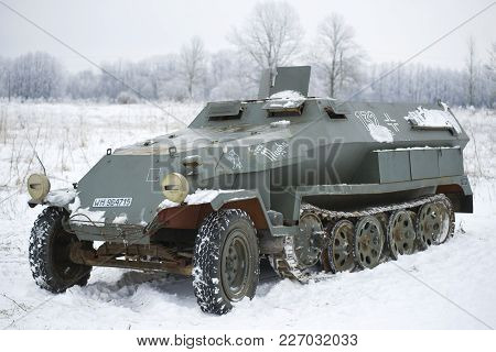 Saint Petersburg, Russia - January 14, 2018: Sdkfz 251, Sonderkraftfahrzeug 251 - German Medium Half