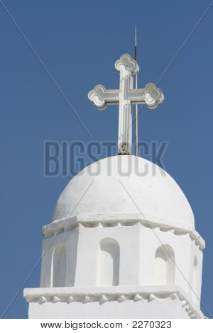 detail from profitis helias church dome athens greece poster