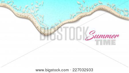Sea Wave On Shore Realistic Background. 3d Azure Blue Ocean Water With Foam Bubbles Backdrop Templat