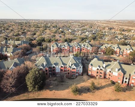 Aerial View Apartment Complex Near Canal In Irving, Texas, Usa