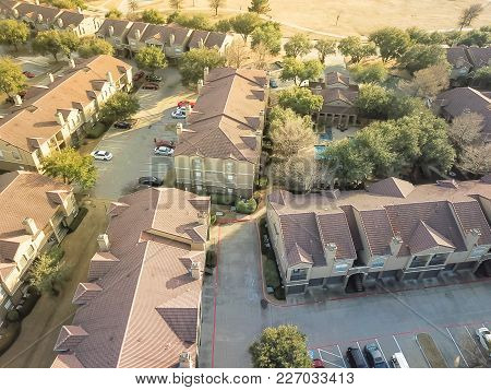 Aerial View Multi-floor Apartment Buildings Complex In Irving, Texas, Usa