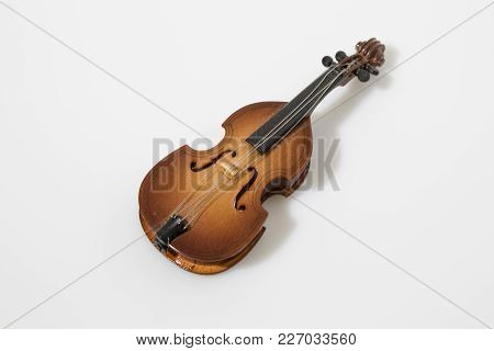 Cello Instrument Composition In A White Background