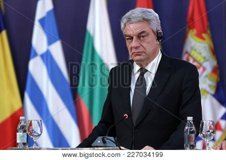 Belgrade, Serbia - 9 December 2017: Romanian Prime Minister Mihai Tudose Talks To The Media At A Pre