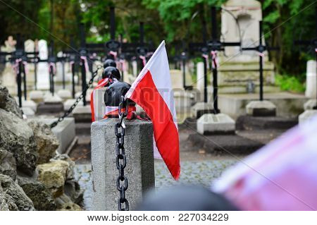 Small National Pennon Of Poland On The Cemetery. National Armed Forces Day Concept.