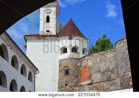 Mukachevo, , Ukraine - August 23 , 2017 , Side View Of The Palanok Castle Or Mukachevo Castle. Ancie