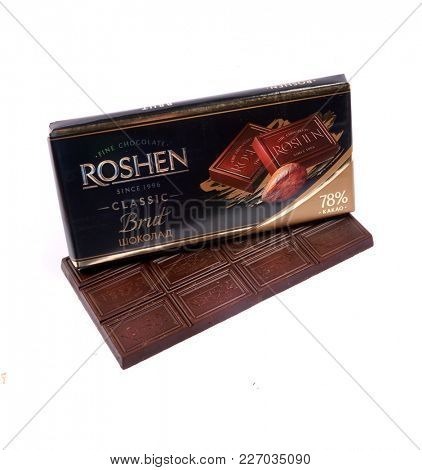 Kyiv, Ukraine - January 5, 2018: Roshen Ukrainian Corporation was ranked 18th in the