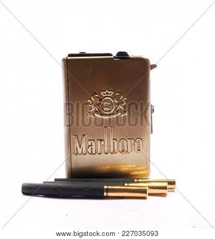 Prague, Czech Republic- October 15, 2017. Retro cigarette case Marlboro