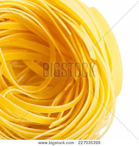 Italian Macaroni Tagliatelle Nest Isolated Close-up Top View