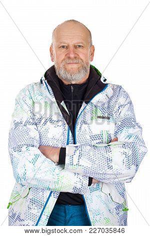 Elderly Athetic Man In Ski Suit Posing O Isolated Background