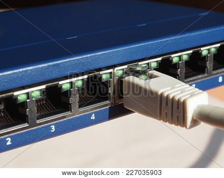 Modem Router Switch With Ports For Rj45 Plug In Lan Local Area Network Ethernet Connection