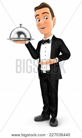 3d Waiter Standing With Restaurant Cloche, Illustration With Isolated White Background