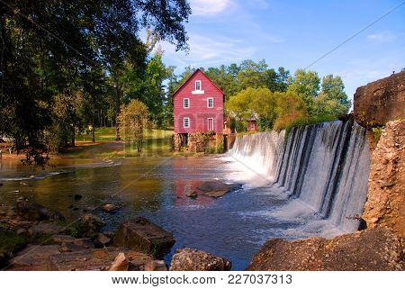 Grist Mill Background Landscape At Georgia, Usa.