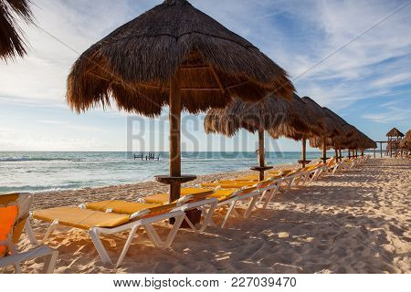 On The Playa Paraiso At Caribbean Sea Of Mexico. This Resort Area Is Popular Destination With The Mo