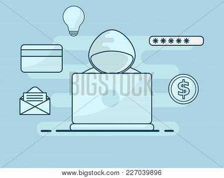 Illustration Of Hacker Cyber Crime Flat Line Design Cyber Security Concept Vector Background