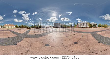 Full 360 By 180 Degree Angle View Panorama On Central Lenin Square With Monument In Sunny Summer Day