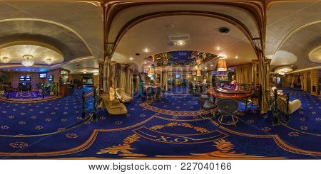 Minsk, Belarus - August 15, 2012: 360 Panorama In Interior In Stylish Hall In Modern Casino With Cro