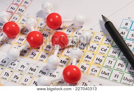 Chemistry Model Atom Of Molecule Water Scientific Elements On Periodic Table Of The Elements. Chemis