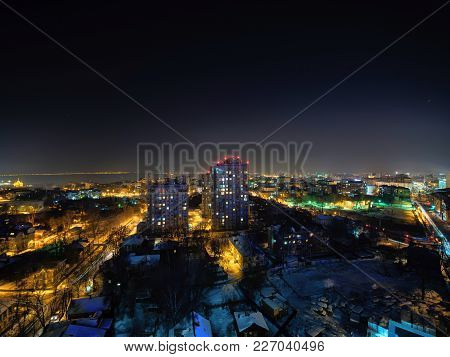 Winter Cityscape At Night Of Nizhny Novgorod In Russia