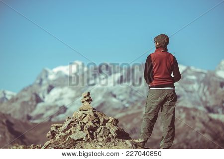 Hiker On Mountain Top Looking At Panoramic View, Massif Des Ecrins National Park, The European Alps,