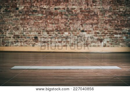 Empty Space In Fitness Center, Brick Wall, Natural Wooden Floor, Modern Loft Studio, Unrolled Yoga M