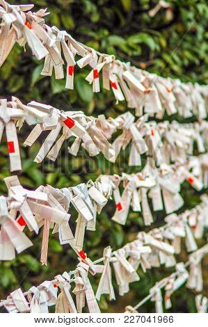 Strings Of Bad Fortunes Hung Left Behind At A Shinto Shrine In Tokyo Japan. Fortune Papers Called Ar