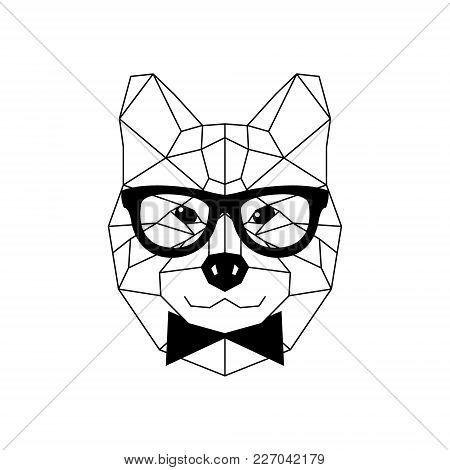 Akito Inu In Glasses. Cute Dog Vector Illustration.
