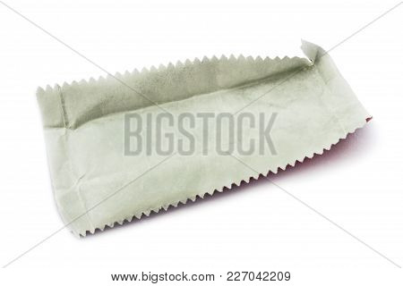 Chewing Gum Wrapper On The Close Up On White