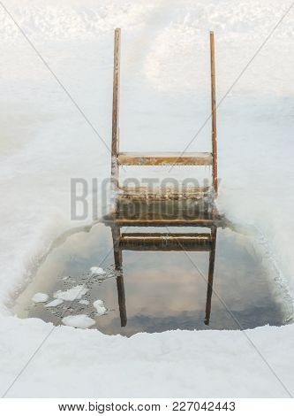 Epiphany Hole With A Wooden Staircase For Winter Swimming In The River