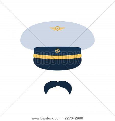 Pilot Aviator. Pilot Hat And Mustache. Vector Illustration.