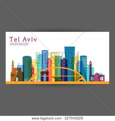Tel Aviv Colorful Architecture Vector Illustration, Skyline City Silhouette, Skyscraper, Flat Design