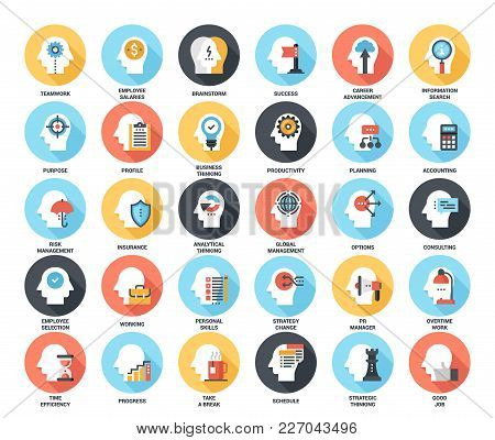 Abstract Vector Set Of Colorful Flat Business And Staff Management Icons With Long Shadow. Concepts