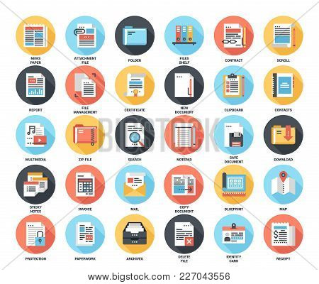 Abstract Vector Set Of Colorful Flat Files And Documents Icons With Long Shadow. Concepts And Design