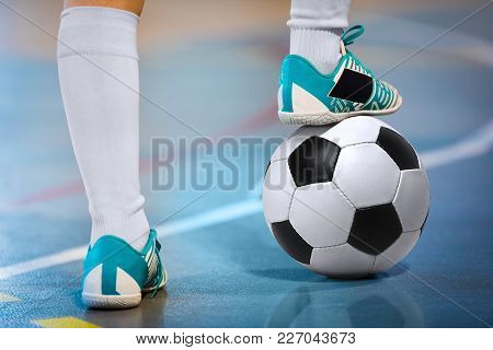 Indoor Soccer Sports Hall. Football Futsal Player, Ball, Futsal Floor. Sports Background. Youth Futs