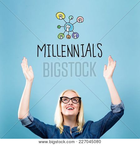 Millennials With Young Woman Reaching And Looking Upwards