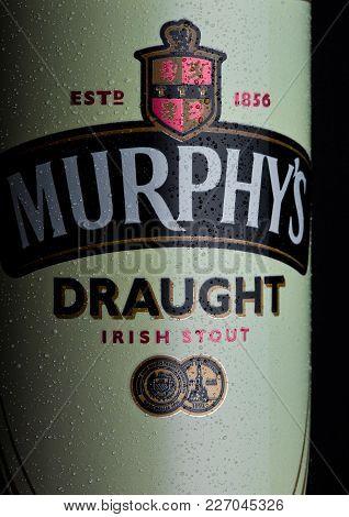 London, Uk - February 14, 2018: Aluminium Can Of Murphy's Draught Irish Stout Beer On Black.
