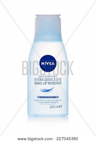 London, Uk - February 14, 2018: Plastic Container Of Nivea Make Up Remover On White Background.