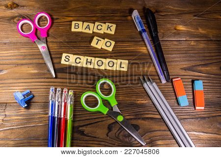 Set Of School Stationery Supplies With Back To School Inscription
