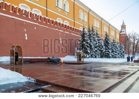 Moscow, Russia, February 01, 2018: Change Of Guard At The Tomb Of The Unknown Soldier Near The Kreml