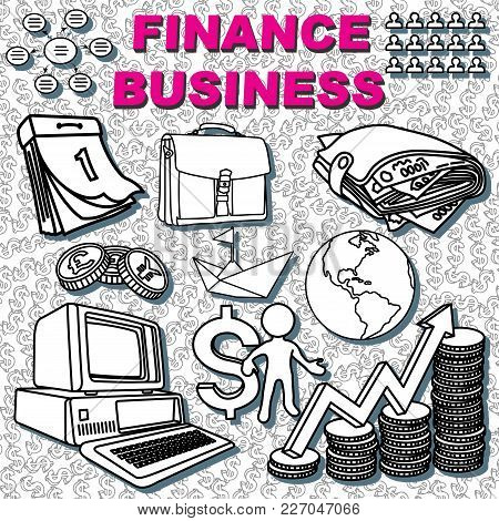 Finance Vector Drawings Collection Isolated On Grayscale Background. Different Currency Signs And Tr