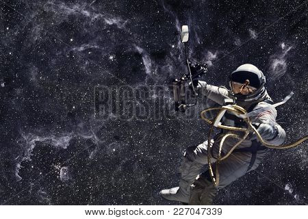 Astronaut In Outer Space. Deep Space, Beauty Of Endless Cosmos. Science Fiction Wallpaper. Elements
