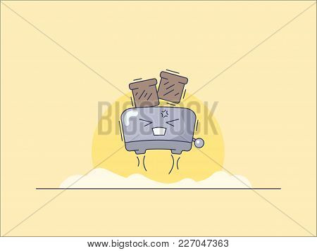 Vector Image Of A Toaster In Cartoon Style
