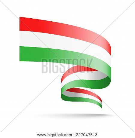 Hungary Flag In The Form Of Wave Ribbon. Vector Illustration On White Background.