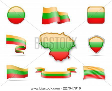 Lithuania Flags Collection. Flags And Contour Map. Vector Illustration