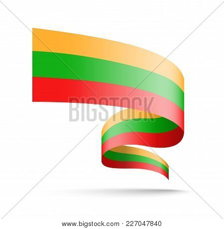 Lithuania Flag In The Form Of Wave Ribbon. Vector Illustration On White Background.