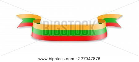 Lithuania Flag In The Form Of Wave Ribbon. Vector Illustration.