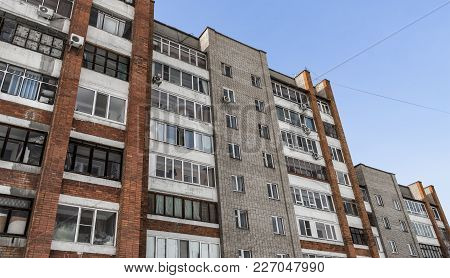 Large Residential Building. Apartment Block. Modern Architecture. Apartment Building. Grunge. Brick