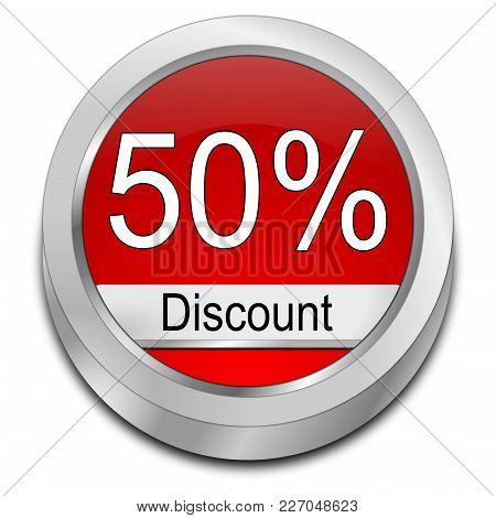 Red 50% Discount Button On White Background - 3d Illustration