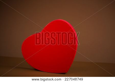 Red Heart On Brown Background, Valentins Day, Wedding