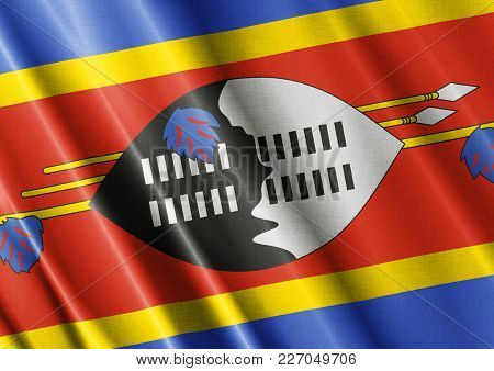 Swaziland Textured Proud Country Waving Flag Close