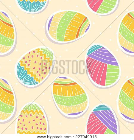 Seamless Pattern With Holiday Eggs And Wihte Polka Dots Or Confetti On Beige Background. Perfect For